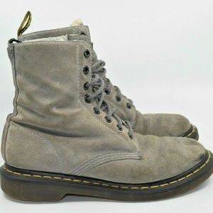 Doc Martens Serena 8 Eye Boot Gray Suede Fur Lined